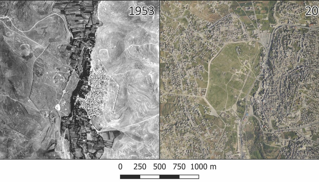Aerial photographs from 1953 (left) and 2015 (right) show rapid growth in Jerash, once the site of the ancient city of Gerasa. (Image: PNAS)