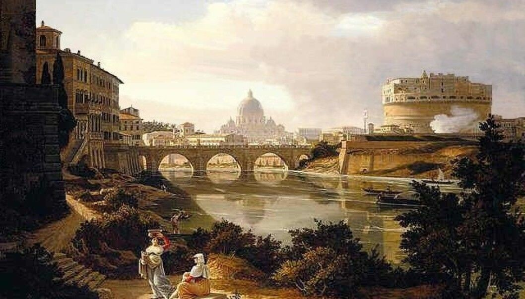 The view from the banks of the Tiber and the south towards Castel Sant'Angelo and St. Peter's Basilica, as the painter Rudolf Wiegmann depicted it around 1834.
