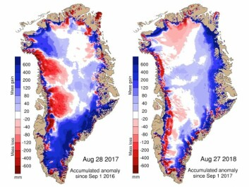 Maps show the difference between the annual SMB in 2017 (left) and 2018 (right) compared with the 1981-2010 period (in mm of ice melt). Blue shows more ice gain than average and red shows more ice loss than average. (Credit: DMI Polar Portal)