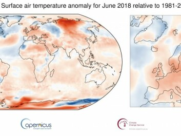 Maps show average temperature for June 2018, relative to 1981-2010 average. Shading indicates warm (red) and cool (blue) areas. (Credit: Copernicus Climate Change Service / ECMWF)