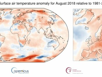 Maps show average temperature for August 2018, relative to 1981-2010 average. Shading indicates warm (red) and cool (blue) areas. (Credit: Copernicus Climate Change Service / ECMWF)