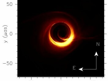 Simulated image as predicted for the supermassive black in the galaxy M87 at the frequencies observed with the Event Horizon Telescope (230 GHz). (Image: Moscibrodzka, Falcke, Shiokawa, Astronomy & Astrophysics, V. 586, p. 15, 2016, reproduced with permission © ESO)
