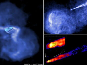 Radio images of the jet in the radio galaxy M87 – observed at lower resolution. The left frame is roughly 250,000 light years across. Magnetic fields threading the supermassive black holes lead to the formation of a highly collimated jet that spits out hot plasma with speeds close to the speed of light (Image compilation: H. Falcke, Radboud university, with images from LOFAR/NRAO/MPIfR Bonn)