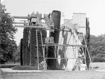 The Leviathan of Parsonstown telescope was completed in 1845, shown here after its completion. It was in use up to 1917 and was the world's largest mirror telescope of it's time. Today, the park's new radio telescope forms part of the world's largest network of radio telescopes. (Photo: National Library of Ireland / Wikimedia)