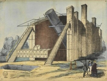 Sketch from the building of the large telescope in the years 1842-45. Lord Rosse (with high hat) monitors the construction Work. (Illustration: National Maritime Museum, Greenwich, London)