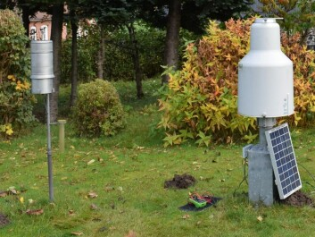 Left: A Hellmann rain gauge. Right: A modern Pluvio rain gauge. When we update equipment we continue to take measurements from both for a period of time, so that we can compare the data and calibrate one series to another. (Photo: DMI)
