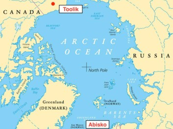 Red circles = 50km radius around Abisko and Toolik scientific research stations. Note: Greenland is a part of the Kingdom of Denmark, not Denmark as the map suggests. (Photo: Peter Hermes Furian / shutterstock)