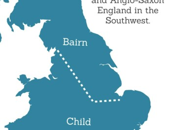 The Viking's did not irradiate Old English -- a sign of their limited impact compared to the earlier Anglo Saxon invasion. But remnants of their influence are still visible in modern English. For example, north and east of the line that demarcates the Danelaw, you are likely to hear 'bairn' instead of 'child,' which is more closely related to the Danish 'barn.' Other similarities include 'armhole' (Danish: armhole)  for armpit and 'hagworm' (Danish: hugorm) meaning adder. (Map: ScienceNordic, based on an original in'Word Maps. A dialect Atlas of England').