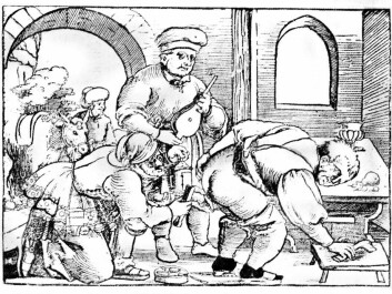 Cauterization of haemorrhoids. The surgeon holds a lamp in his left hand and an iron or forceps in his right. His assistant holds the bellows for the red-hot coals in the brazier on the floor. The patient helps by pulling his left buttock aside. In the gateway is the surgeon's mount, so that he can easily get away. (Image: German woodcut 15th century).