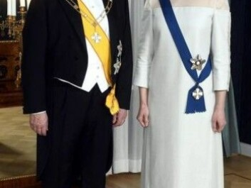 President Sauli Niinistö and First Lady Jennie Haukio on Finnish Liberation Day. The first lady's dress is made of birch. (Photo: Vesa Moilanen / Lehtikuva)