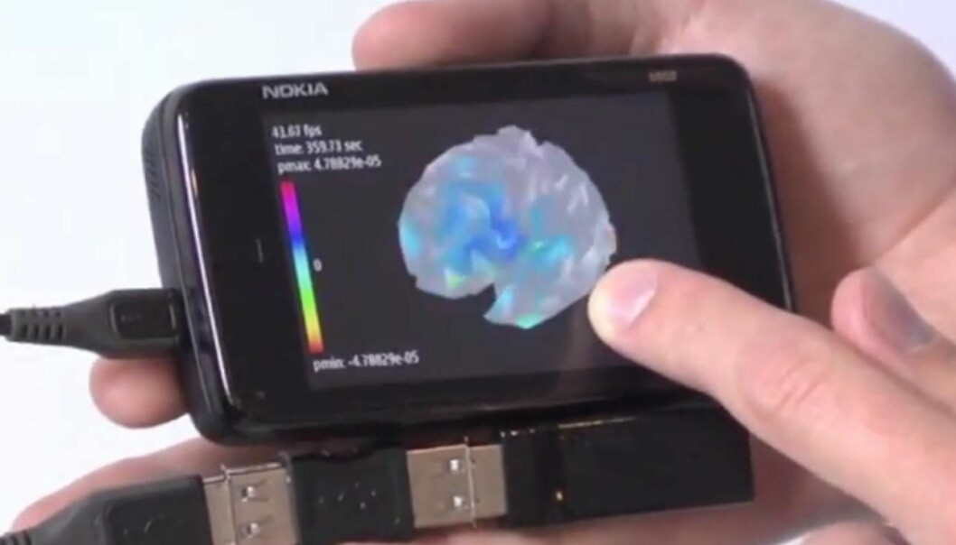 The researchers have designed an app for this Nokia smartphone, enabling it to analyse signals captured by the EEG headset as well as construct a 3D model of the brain on the screen. (Photo: Jakob Eg Larsen/DTU)