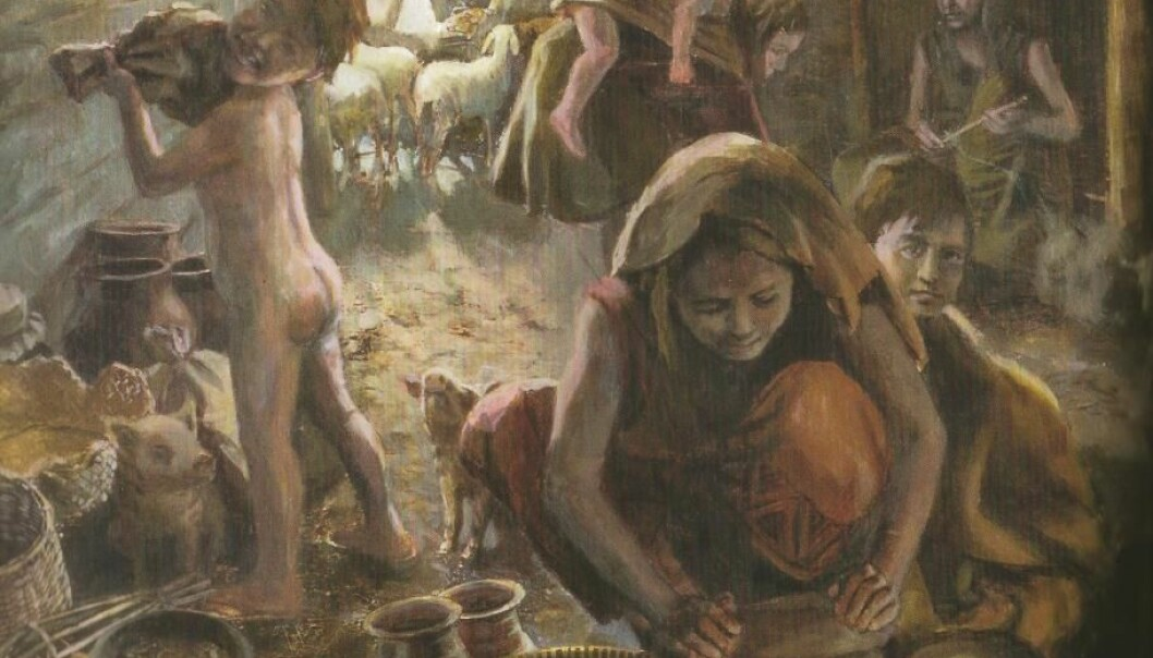 The illustrations in the book reflect the supply of ingredients in the various eras, as here in the Neolithic period. The children also took part in the cooking, for instance by grinding grain. (Illustration: Communicating Culture & Atelier bunterhund Zürich)