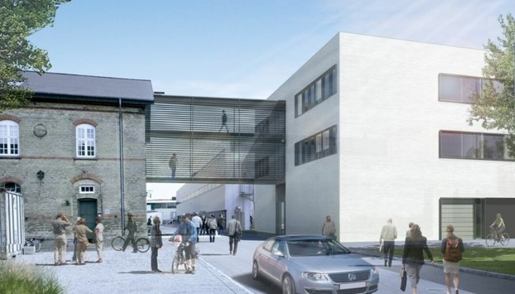 The architects' illustration of how the finalised biobank will look. It will be built together with the existing buildings that house the State Serum Institute (Illustration: Dissing+Weitling)