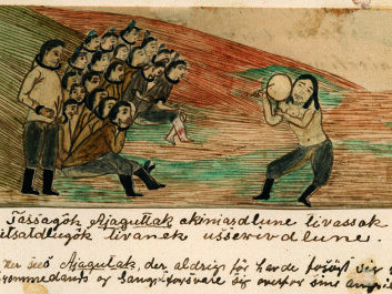 Ajaguttaq singing a satirical song about his challenger (standing) in a drum duel. Jens Kreutzmann (1828-99) made the drawing, the oldest known depiction from Greenland of a drum song, around 1860. (Photo: Greenland National Museum and Archives)