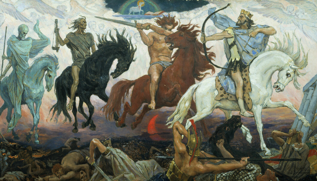 Four horsemen ride out from heaven to cause destruction and give an early warning that Jesus will separate the good people from the evil. For centuries, this was how Christians believed Judgement Day would come about. Today, this fear of the four horsemen of the Apocalypse has been replaced with a fear of the destruction we humans can cause with our science and technology. (Painting: Victor Vasnetsov, 1887)