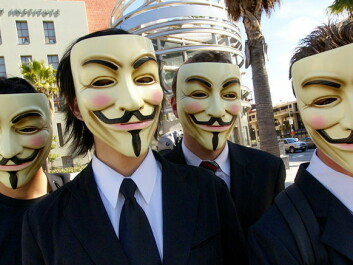 Members of the hackers group Anonymous often conceil their identities. When appearing in public they don the characteristic Guy Fawkes masks, symbolising the combination of revolution and disguise. Guy Fawkes (1570-1601) led the Catholic 'Gunpowder Plot' in 1601 that unsuccessfully attempted to obliterate the Protestant elite by blowing up the British Houses of Parliament. (Photo: Vincent Diamante)