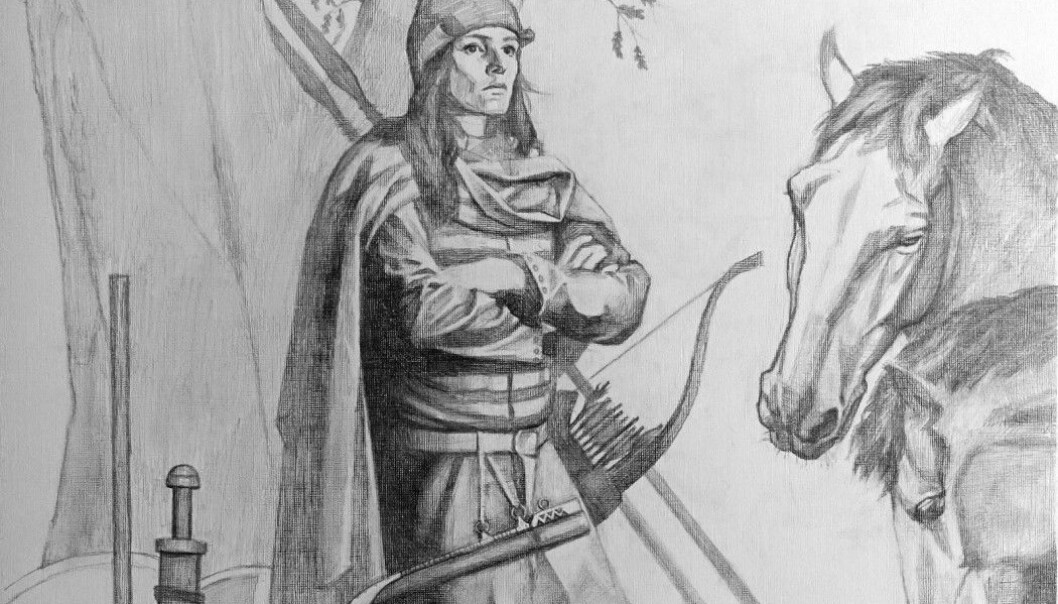 A contemporary artist's rendition of a Viking warrior found in a Swedish grave in Birka. This woman warrior was buried with much of what is illustrated in the drawing. (Image: Tancredi Valeri / Antiquity 2019)