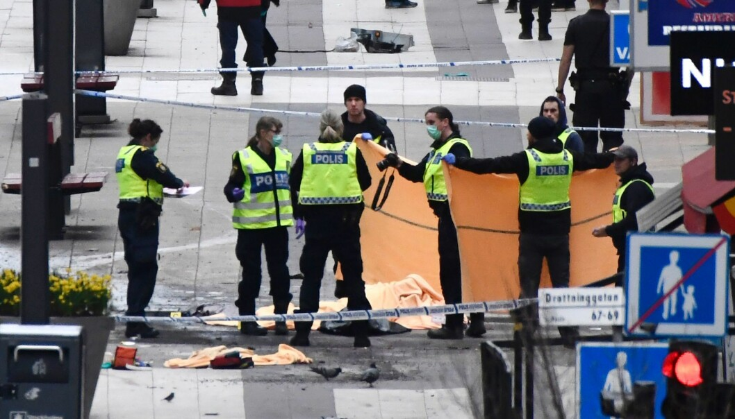 A little before 3 pm on a Friday afternoon, a terrorist drives a truck into the pedestrian street Drottninggatan in central Stockholm, killing five people. It could have been a lot worse. (Photo: Jonathan Nackstrand / AFP / Scanpix)