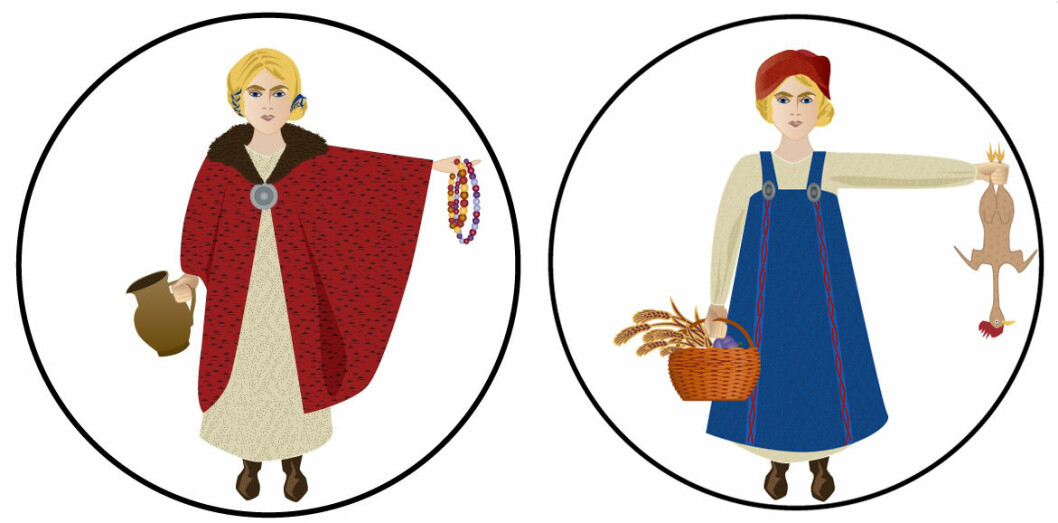 Vikings liked to wear colourful and patterned clothes. Remains of silk have been found in Viking graves. The silk was imported and only the most privileged Vikings could afford it. Viking women's faces had more masculine features than they have today. They preferred to wear the so-called harness dresses, which were held together with two belt buckles.