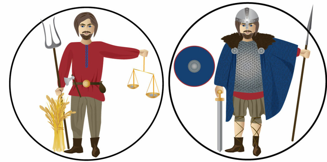 Vikings were tradesmen, warriors and, not least, farmers. Evidence suggests that they bathed regularly, kept their ears and nails clean, and combed their hair and beards. The average height for a male was 171 cm. The most privileged Vikings used swords and chain mails when fighting. The ordinary peasant, who rarely entered the battlefields, had to make do with common tools such as axes and knives. The Vikings also used bows and arrows, spears, helmets and shields.