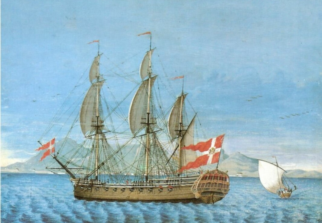 Ship portrait of the frigate Queen Sophia Magdalene off the Cape of Good Hope around the 1760s. The ship was owned by the Asian Company.