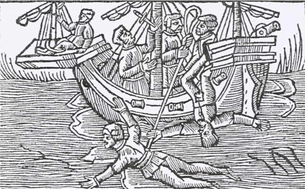 Keelhauling, being dropped from the yardarm and having one's hand impaled to the mast with a knife are punishments that have a long history in Europe. In this woodcut from Olaus Magnus' great work on the history of the Nordic peoples (1555), the artist manages to capture several of the harsh punishments at once.