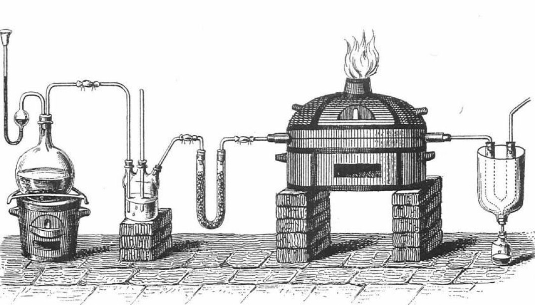 Ørsted's synthesis of water-free aluminium chloride (AlCl3), as reproduced in a Danish textbook from 1853.