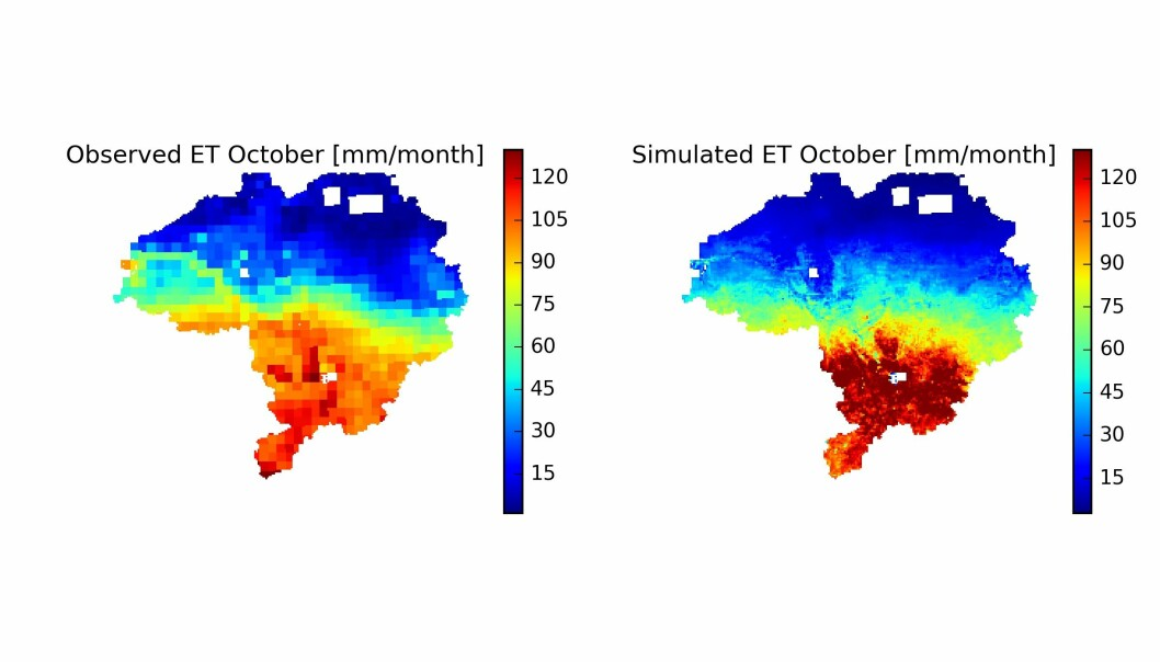The map shows the preliminary results of our model study. It is a comparison between an observed and a simulated evaporation map. Through the calibration process, the model's parameters are adjusted so that the model matches the observations as closely as possible and we get the most accurate knowledge.