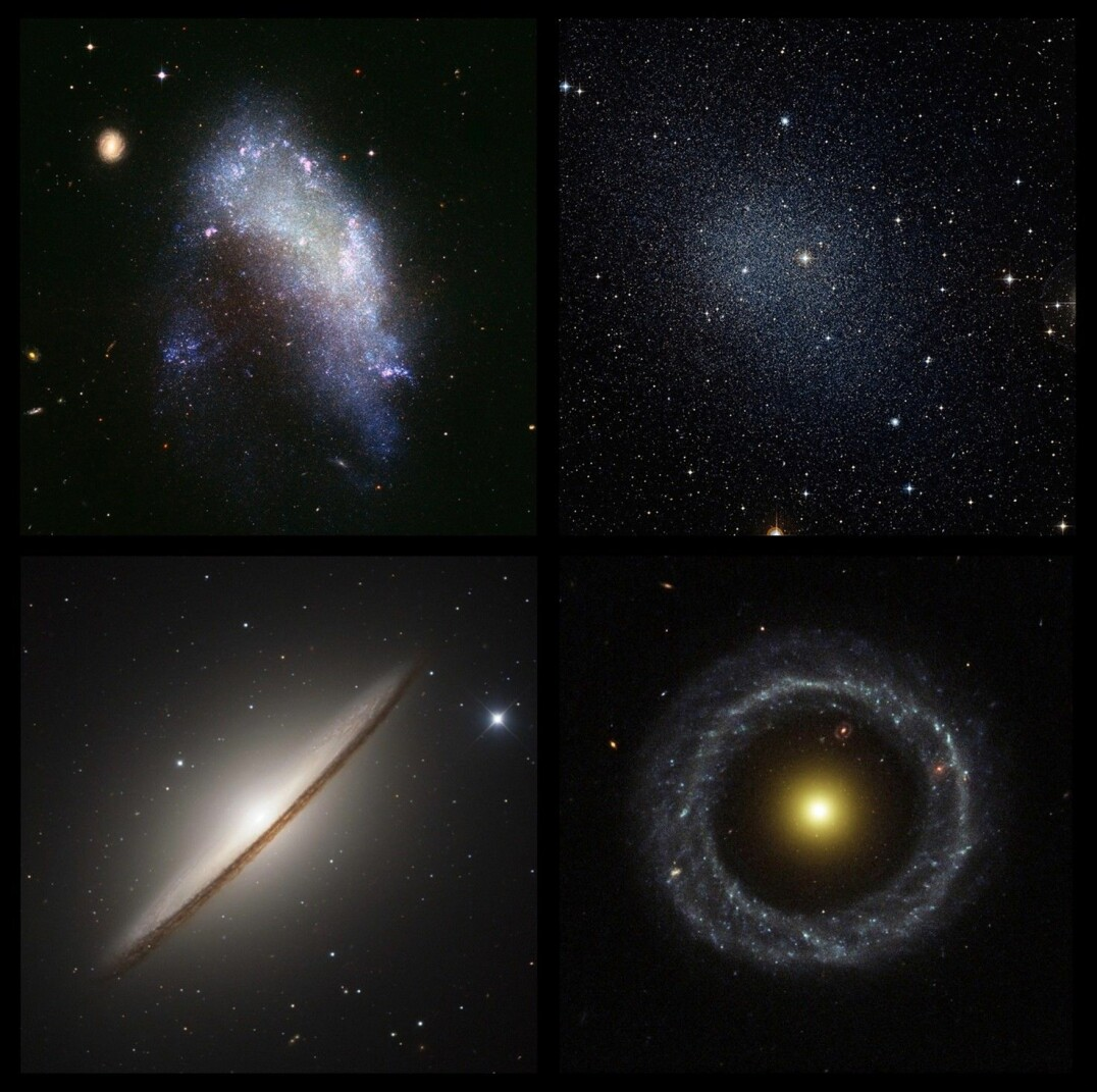 Four more galaxies, and then we're done: 1) The irregular galaxy NGC 1427A. 2) The Fornax Dwarf spheroidal. 3) The lenticular Sombrero Galaxy. 4) The ring galaxy Hoag's Object.