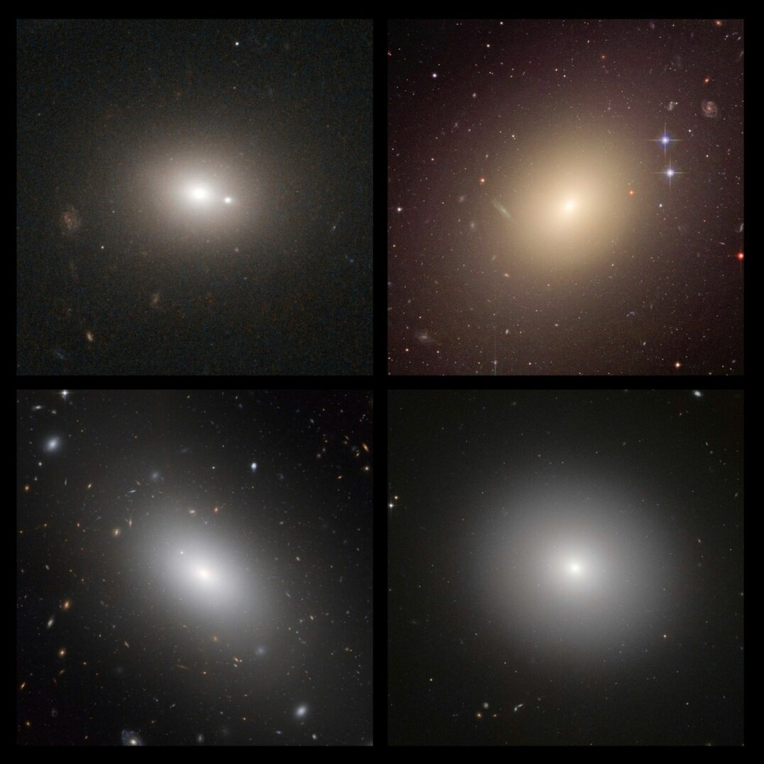 Four examples of elliptical galaxies: 1) 4C 73.08. 2) ESO 325-G004. 3) NGC 1132. 4) IC 2006. These aren't as much fun, right?