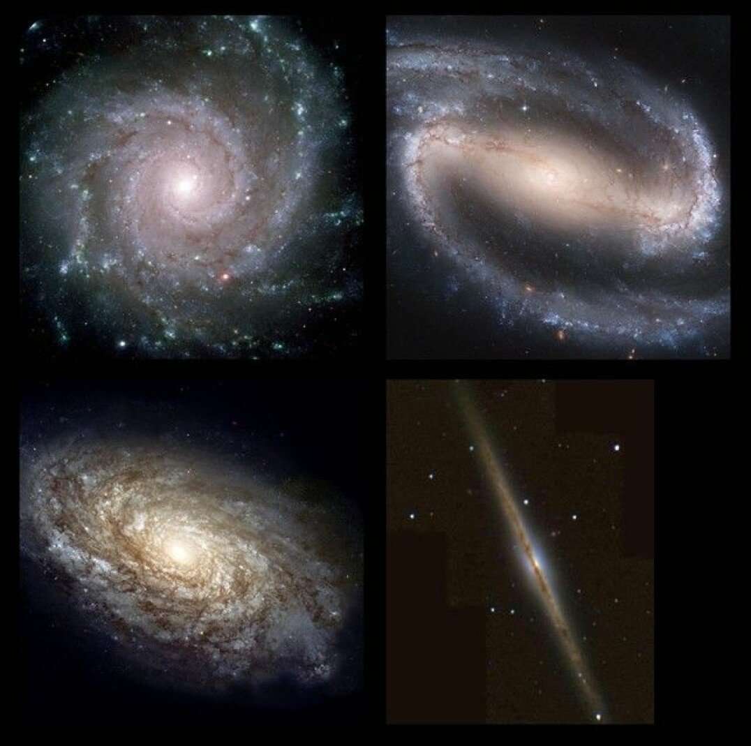 Four examples of spiral galaxies: 1) The 'grand design' galaxy M74. 2) The barred spiral NGC 1300. 3) The 'flocculent' galaxy NGC 4414. 4) The spiral galaxy NGC 891 seen 'edge-on'. In this last example, we look directly into the dusty disk, 'reddening' the light by filtering away the blue light.