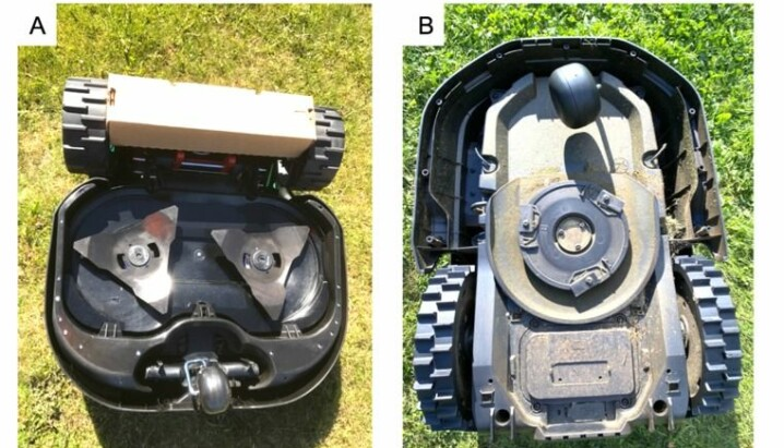 Robotic lawn mowers with fixed blades (A) and pivoting blades (B).